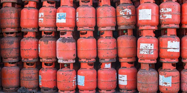 Stack of old gas cylinders for recycling